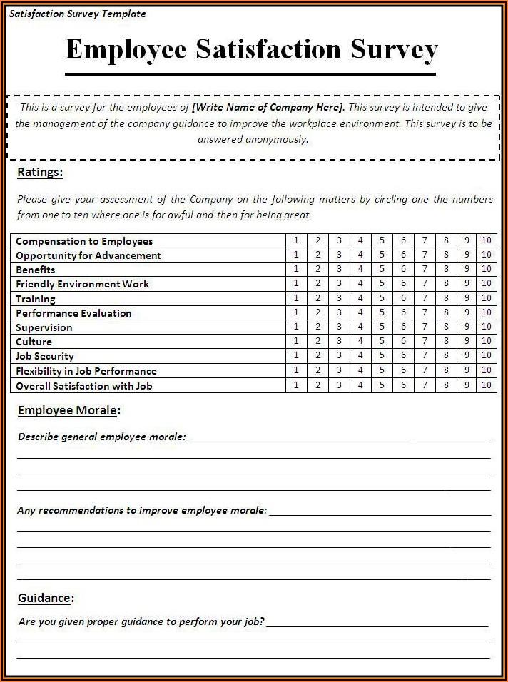 Employee Satisfaction Survey Template Doc
