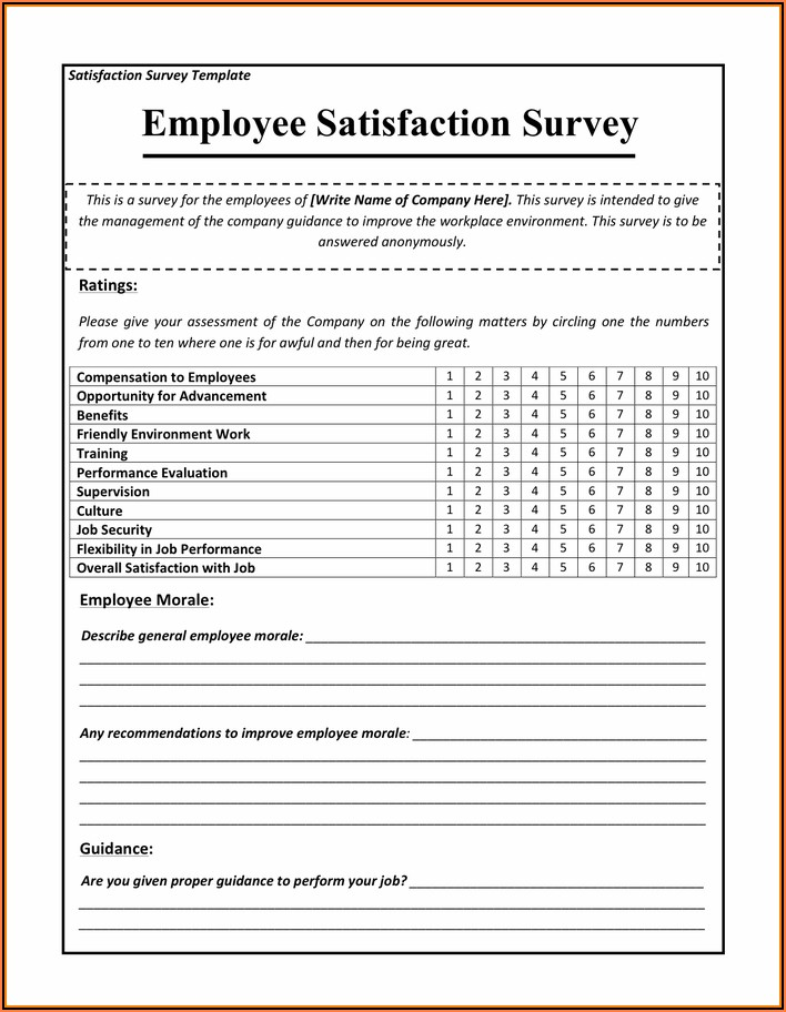 Employee Satisfaction Survey Template Pdf