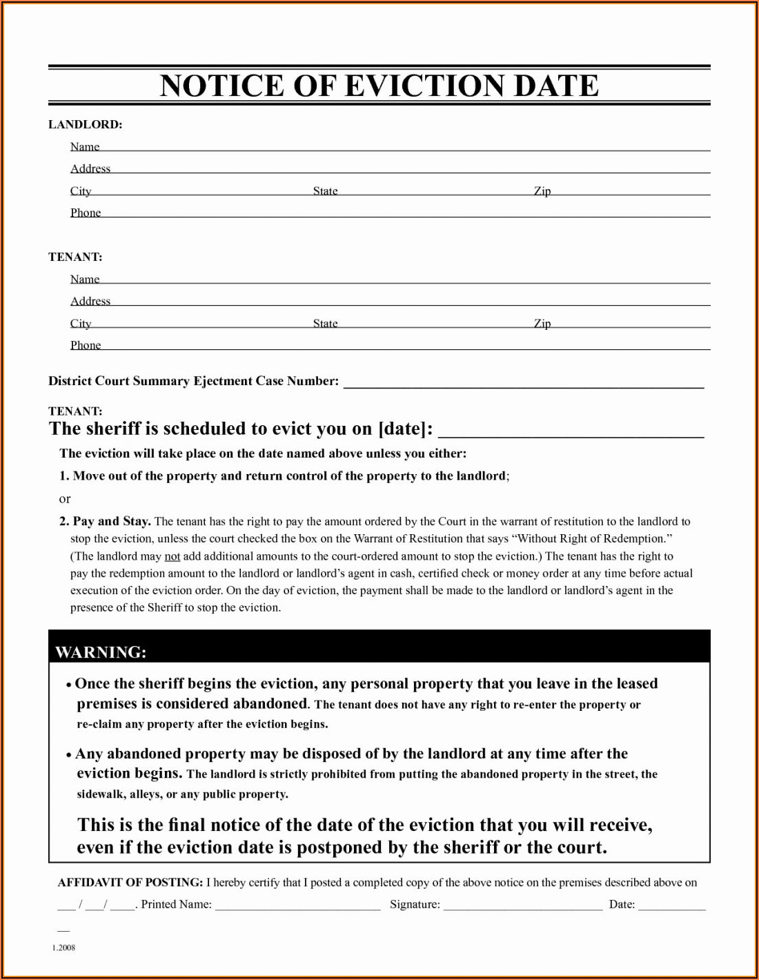 Eviction Notice Form Word Template