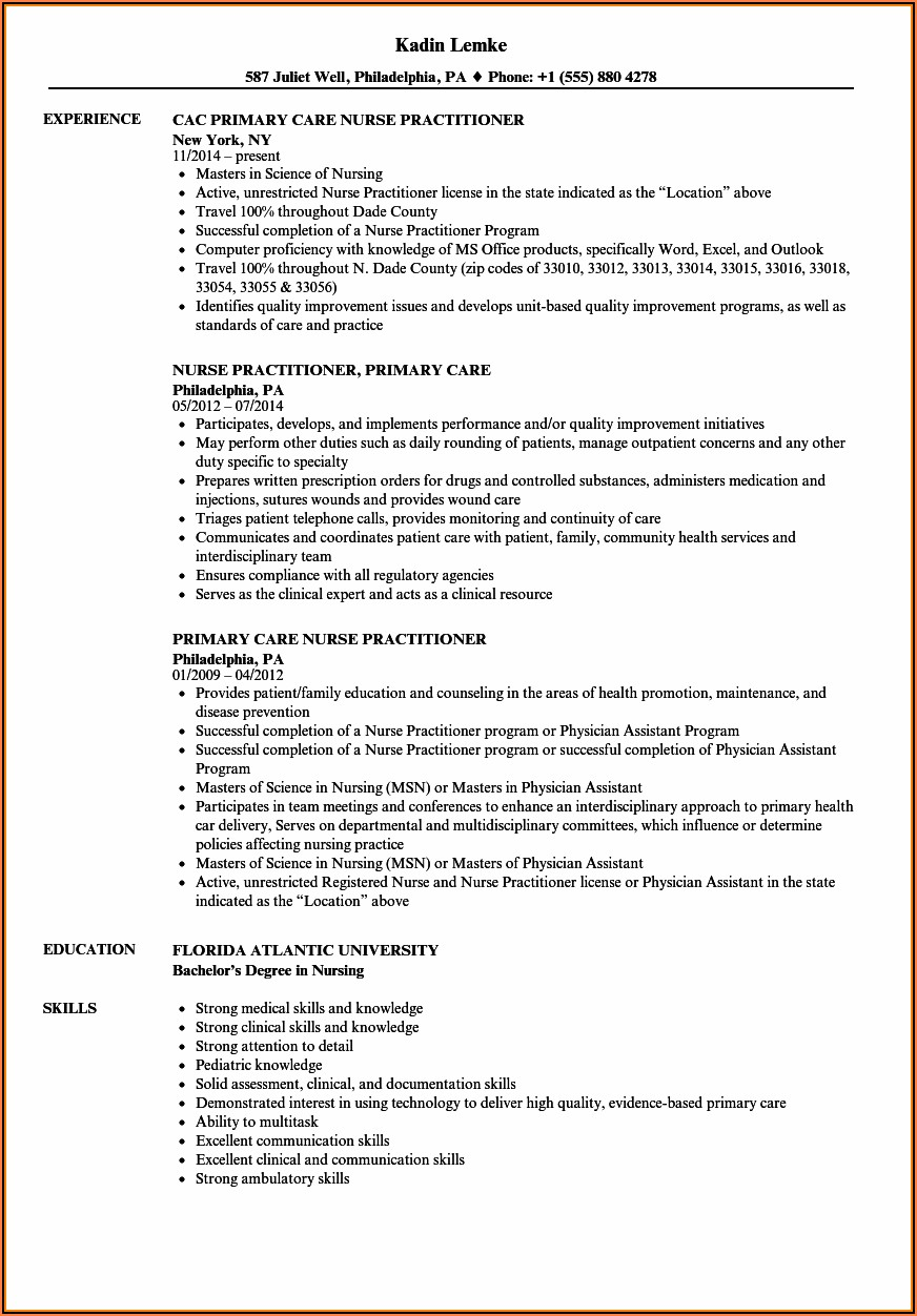 Family Nurse Practitioner Resume Template