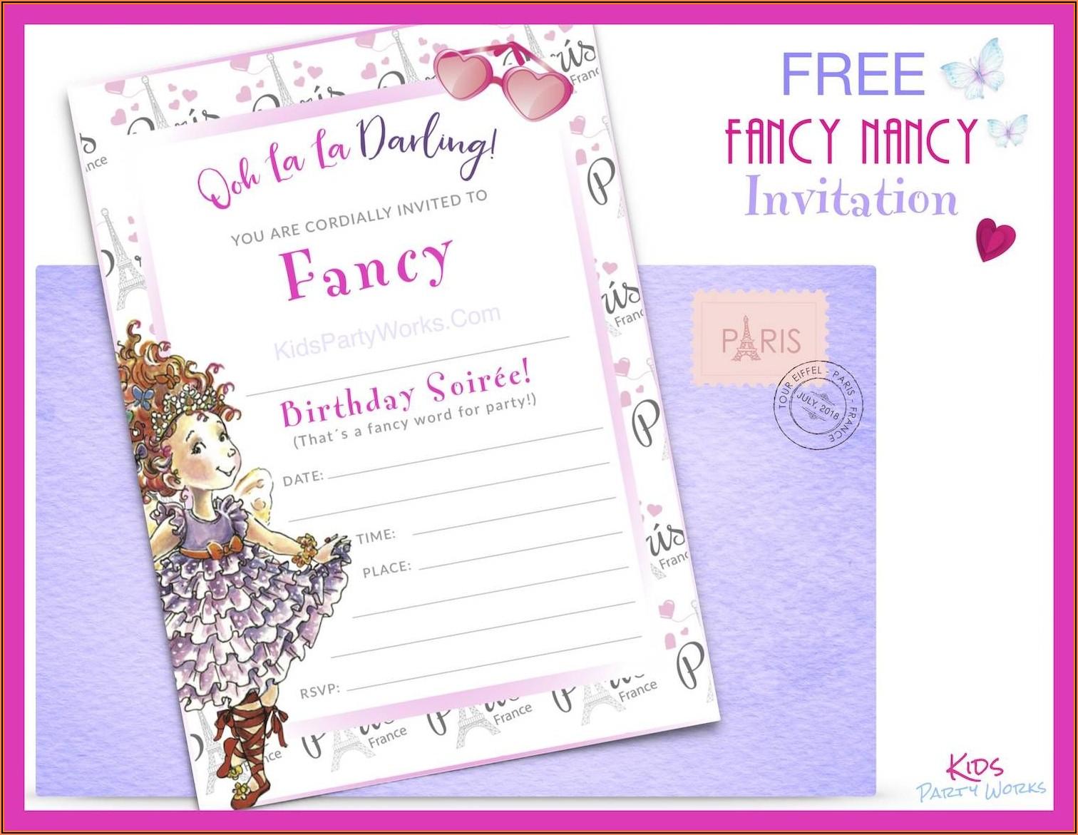 Fancy Nancy Invitation Template Free