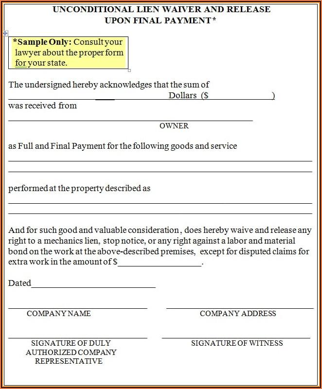 Final Lien Waiver Form Free