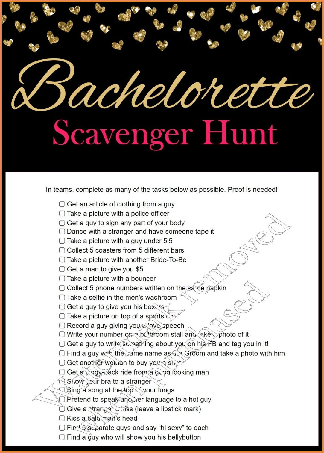 Free Bachelorette Party Scavenger Hunt Template