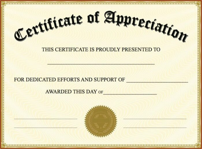 Free Certificates Of Appreciation Templates For Word