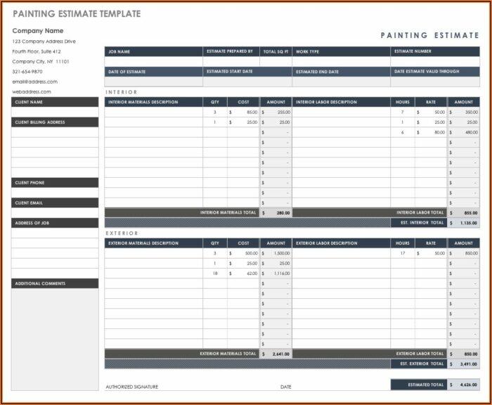 Free Contractor Estimate Template Excel