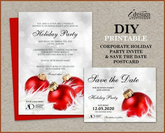 Free Customizable Save The Date Templates Holiday Party