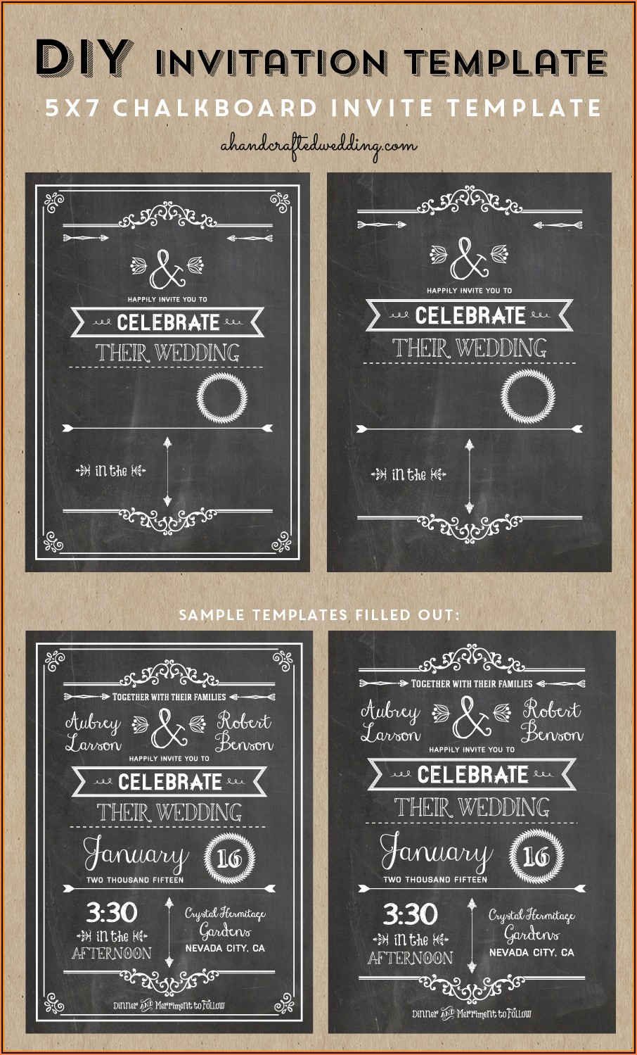 Free Editable Chalkboard Invitation Template