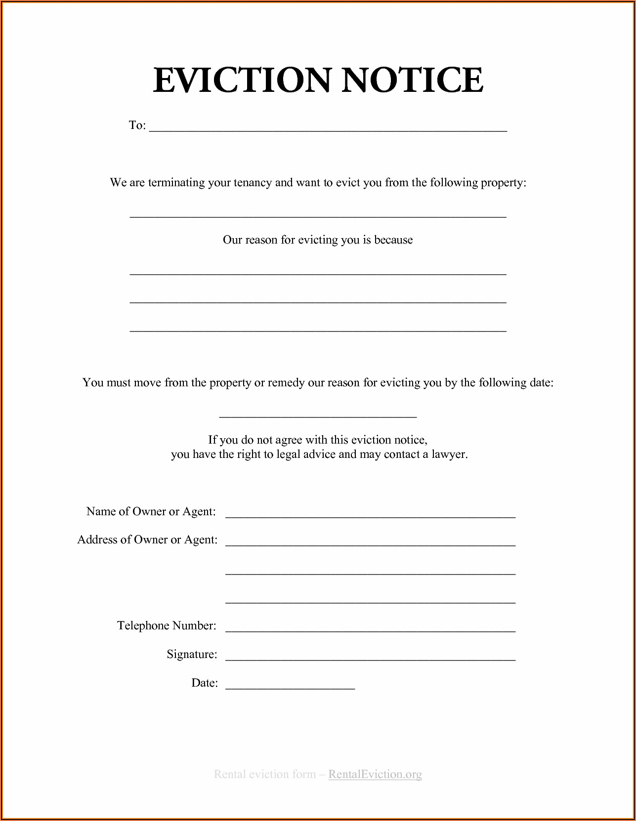 Free Eviction Paperwork