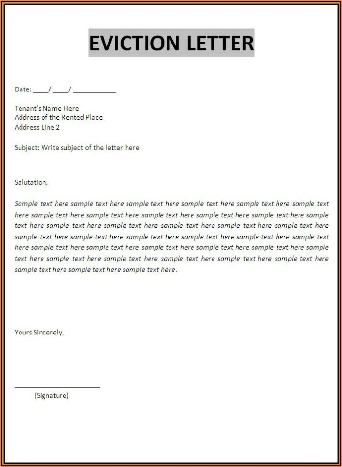Free Eviction Template Letter