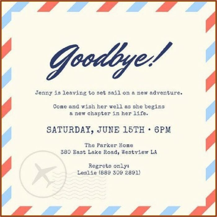 Free Farewell Dinner Invitation Template