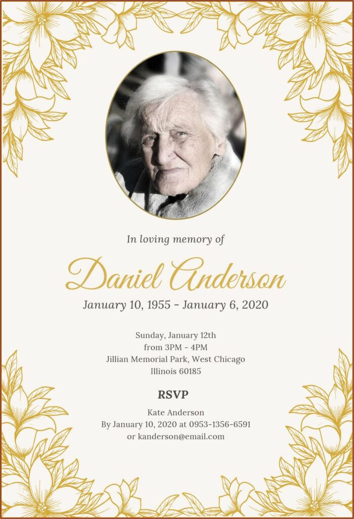 Free Funeral Invitation Template Word Uk