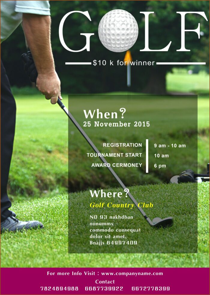Free Golf Tournament Flyer Template Word