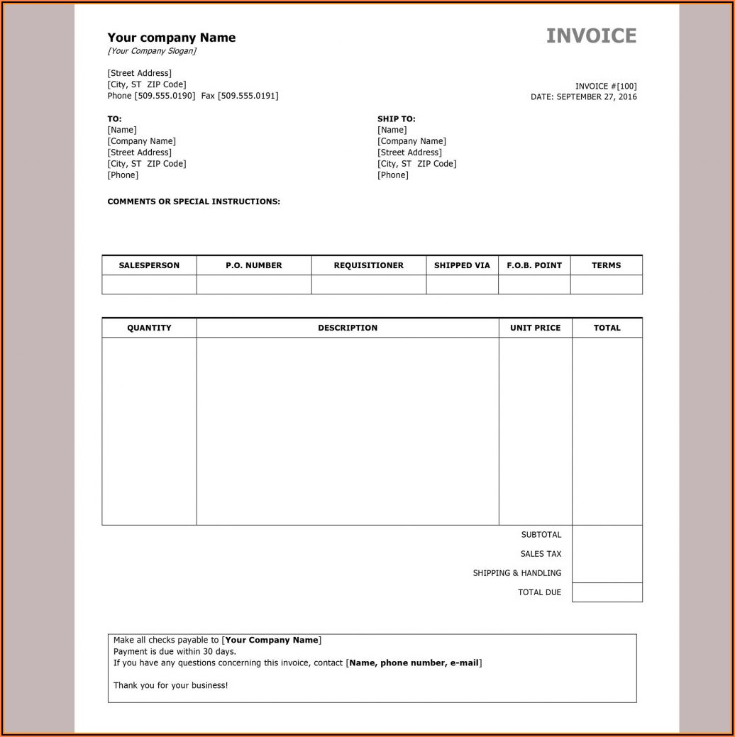 Free Invoice Template Word Download