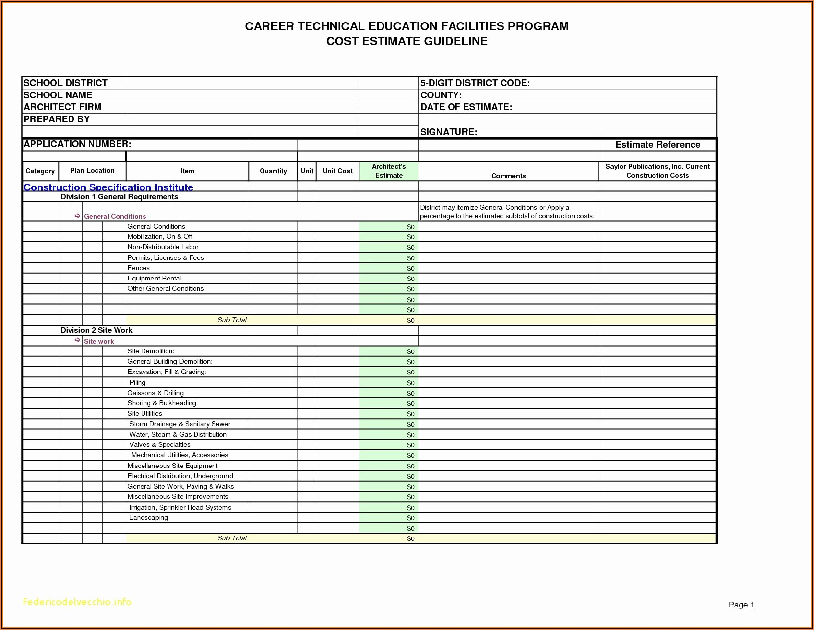 Free Job Estimate Template Download