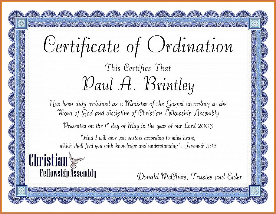 Free Minister Ordination Certificate Template