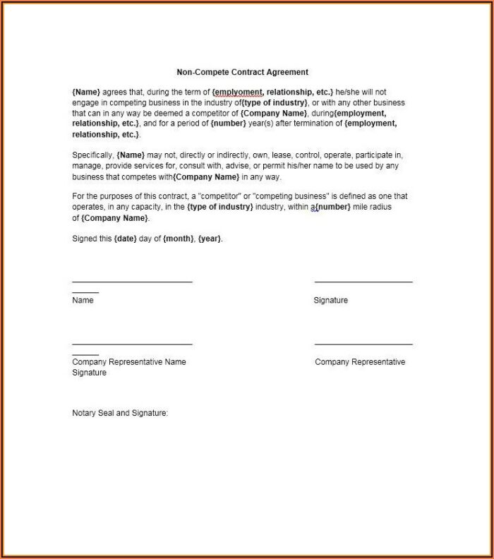 Free Non Compete Agreement Template Word