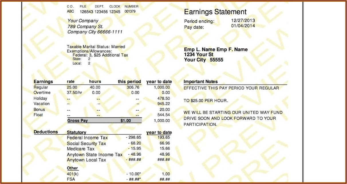 Free Paycheck Stubs Templates