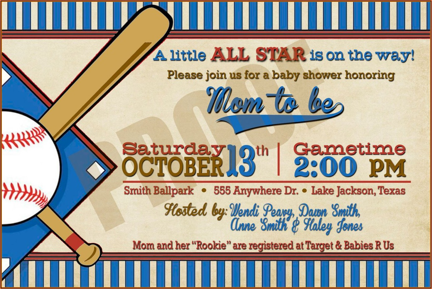 Free Printable Baseball Baby Shower Invitations Templates