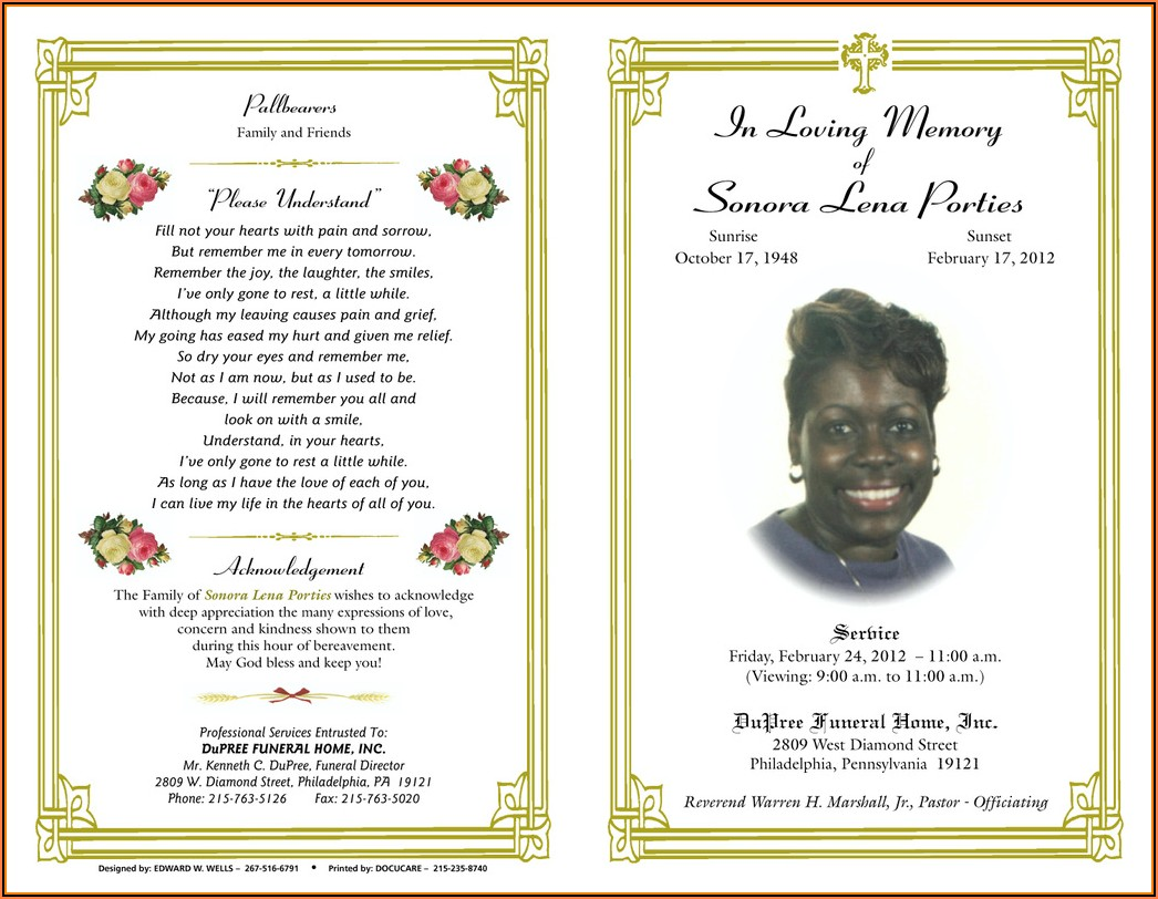 Free Printable Funeral Invitation Template