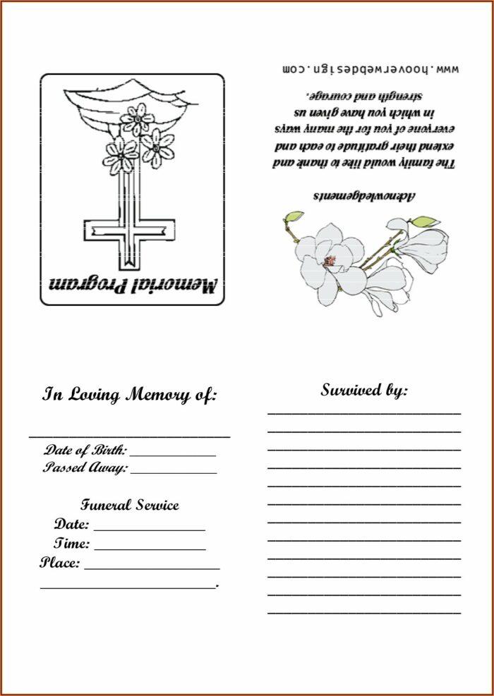 Free Printable Funeral Memorial Card Template