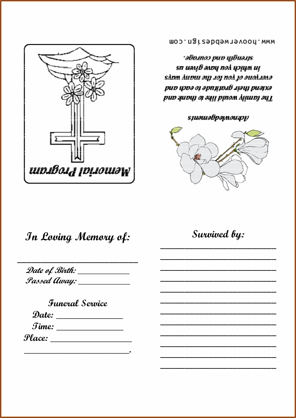 Free Printable Funeral Memorial Card Template