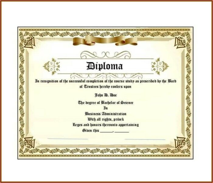 Free Printable High School Diploma Templates