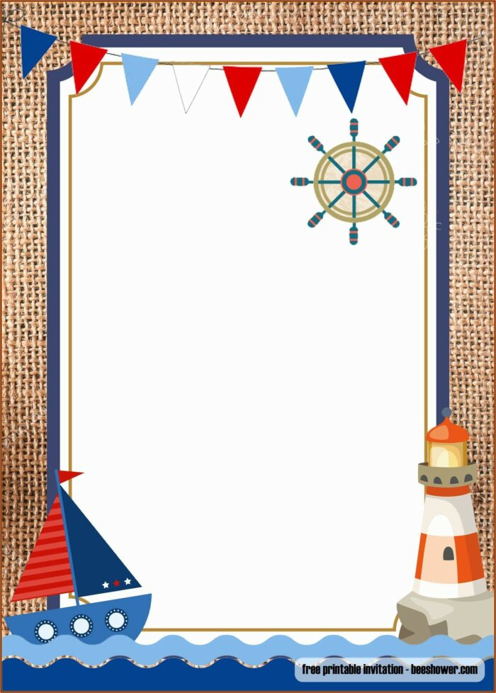 Free Printable Nautical Baby Shower Invitations Templates