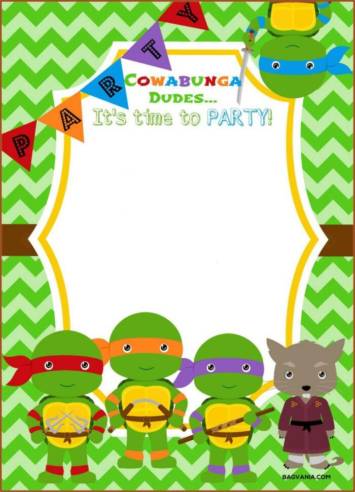 Free Printable Ninja Turtle Invitation Templates