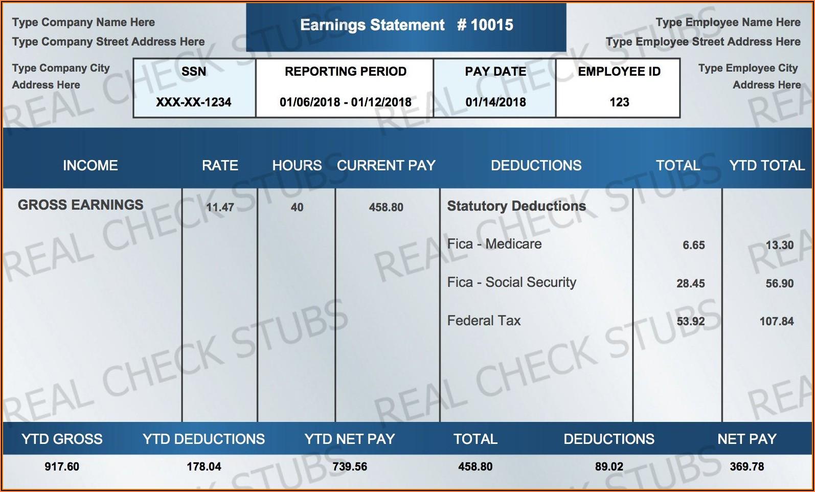 Free Printable Paycheck Stub Templates