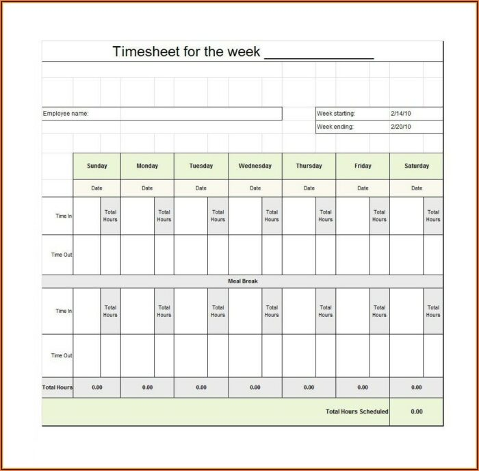 Free Printable Timesheet Template Pdf