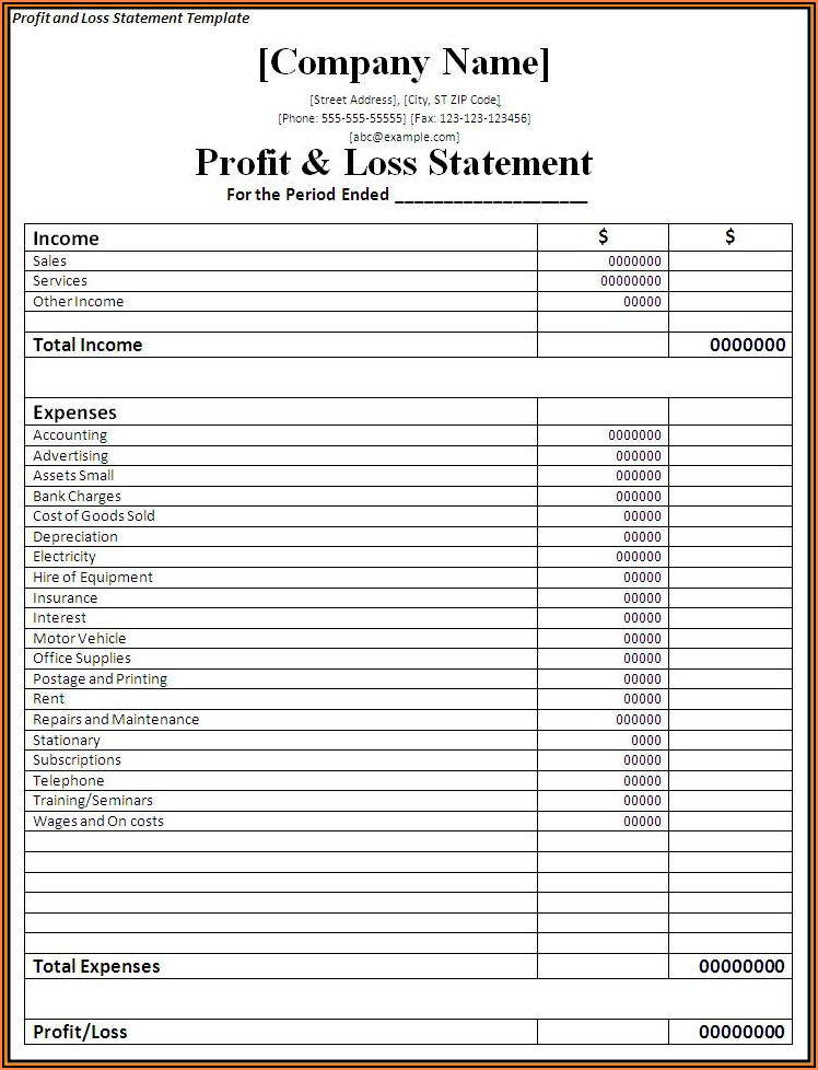 Free Profit And Loss Statement Template For Self Employed Excel