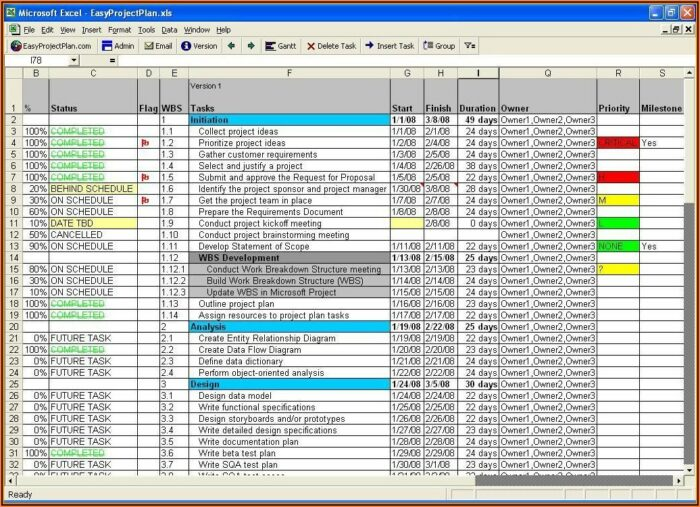Free Project Planner Template Excel