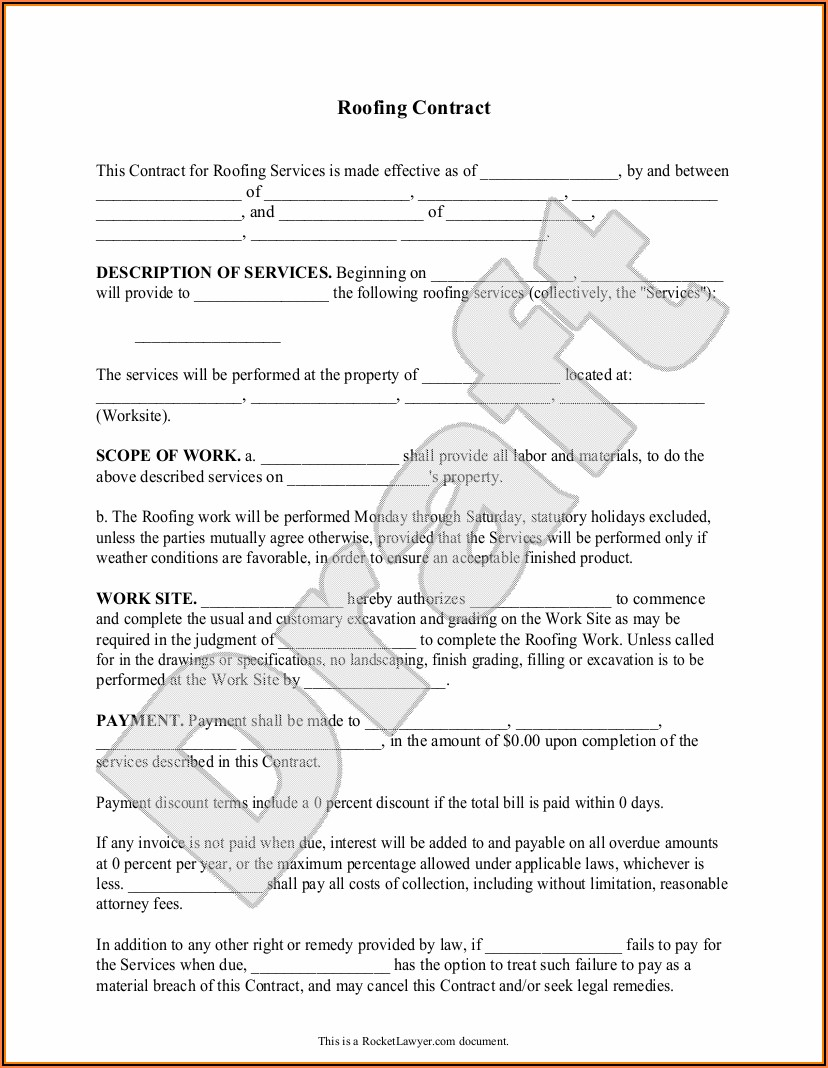 Free Sample Roofing Contract Template