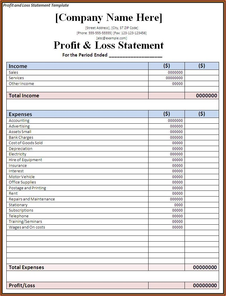Free Simple Profit And Loss Statement Template For Self Employed