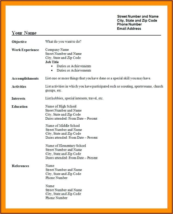 Free Student Resume Templates For Word