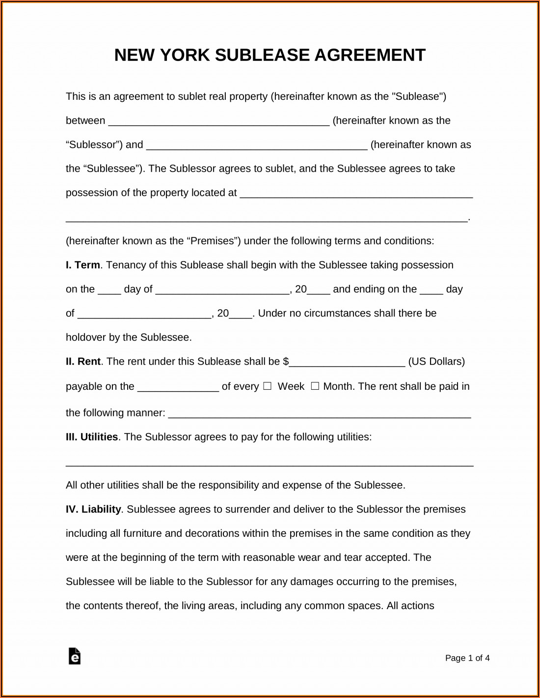 Free Sublease Agreement Template Word Ontario