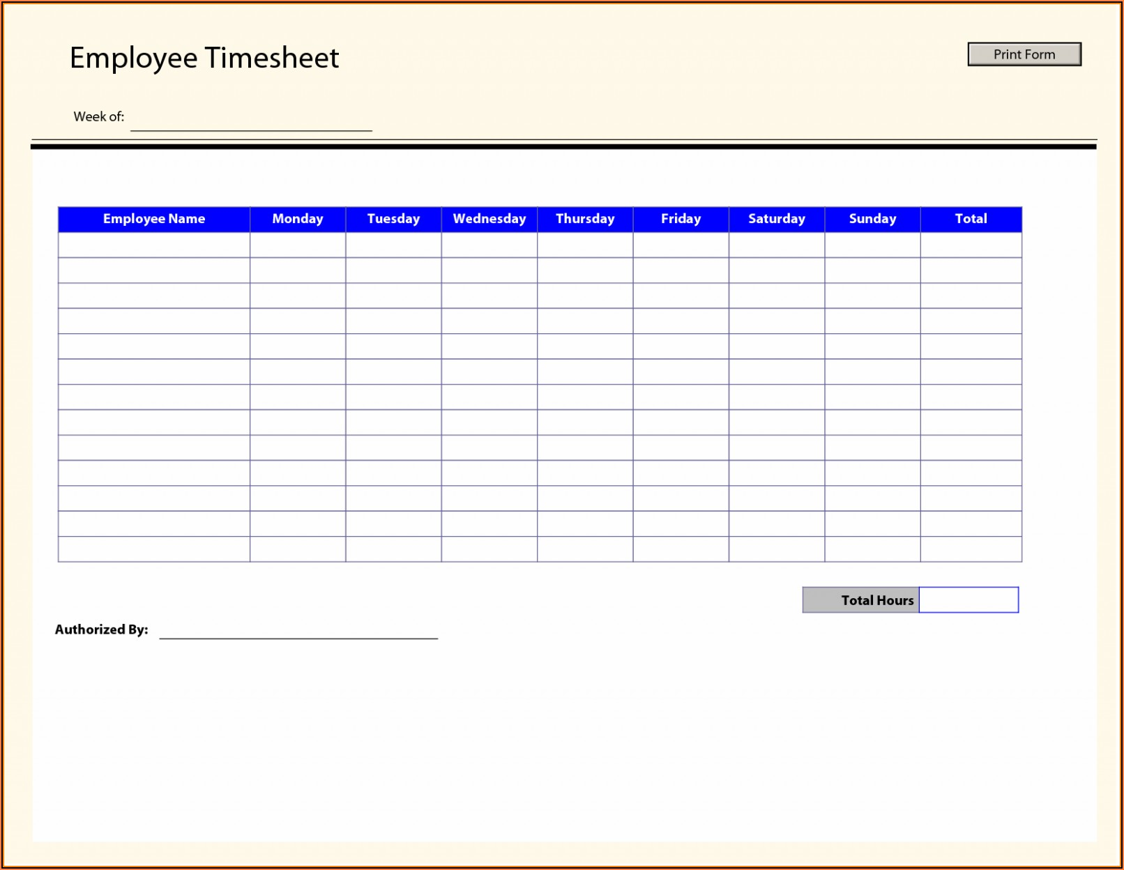 Free Timesheet Template Printable