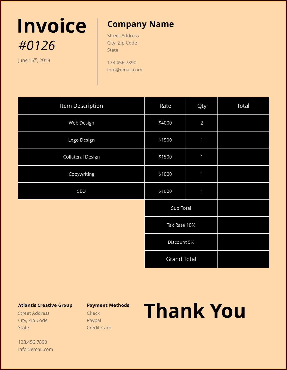 Freelance Creative Invoice Template