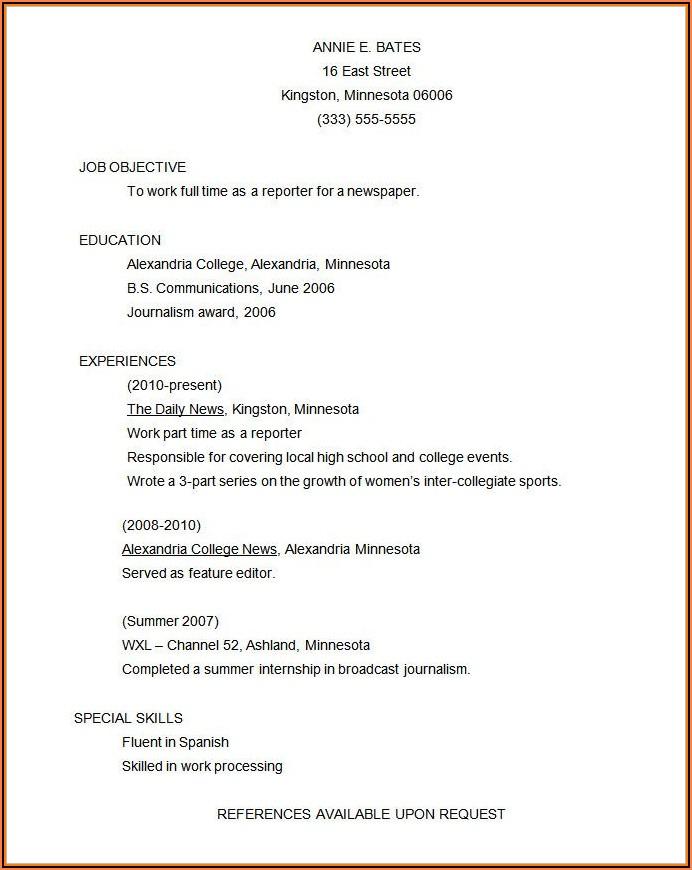 Functional Resume Format Free Download