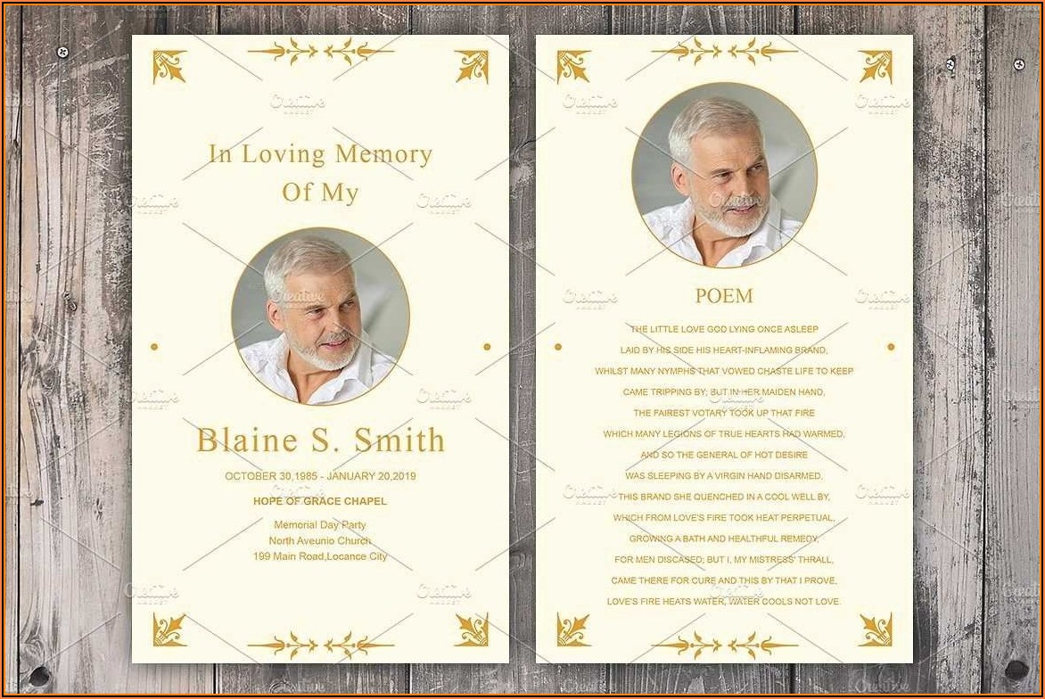 Funeral Memorial Prayer Cards Template
