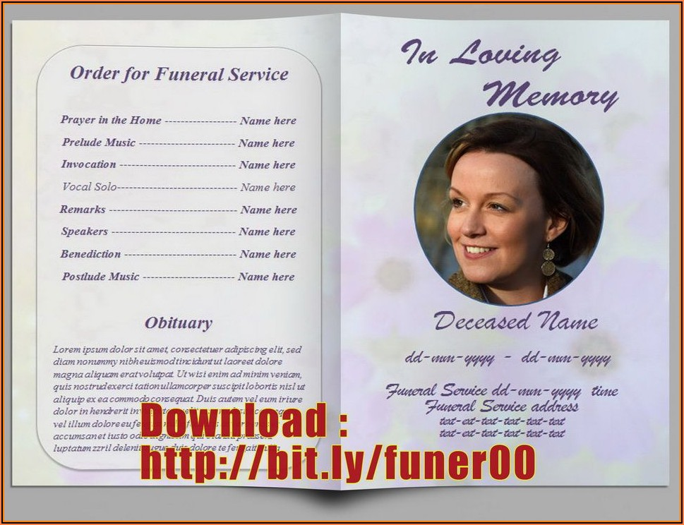 Funeral Program Template Free Microsoft Word