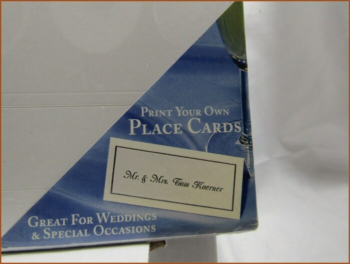 Gartner Studios Place Cards White & Silver Template