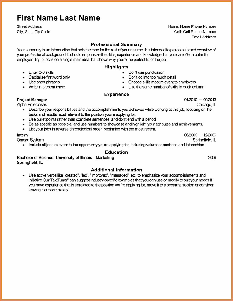 Generic Resume Template Pdf