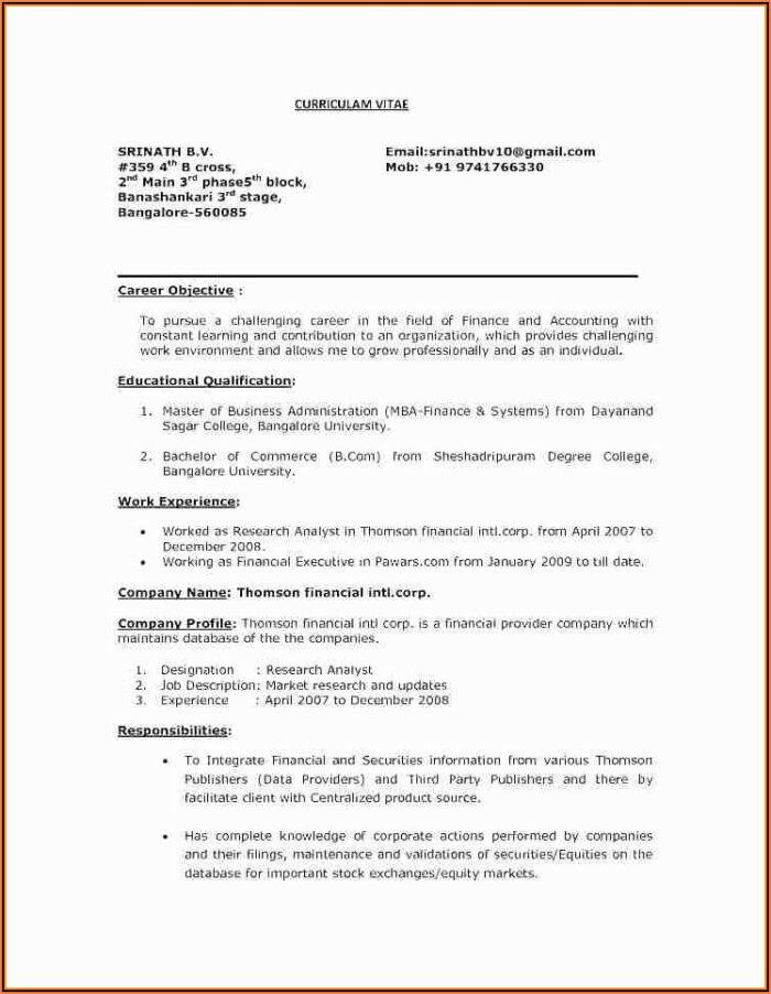 Generic Resume Templates Free
