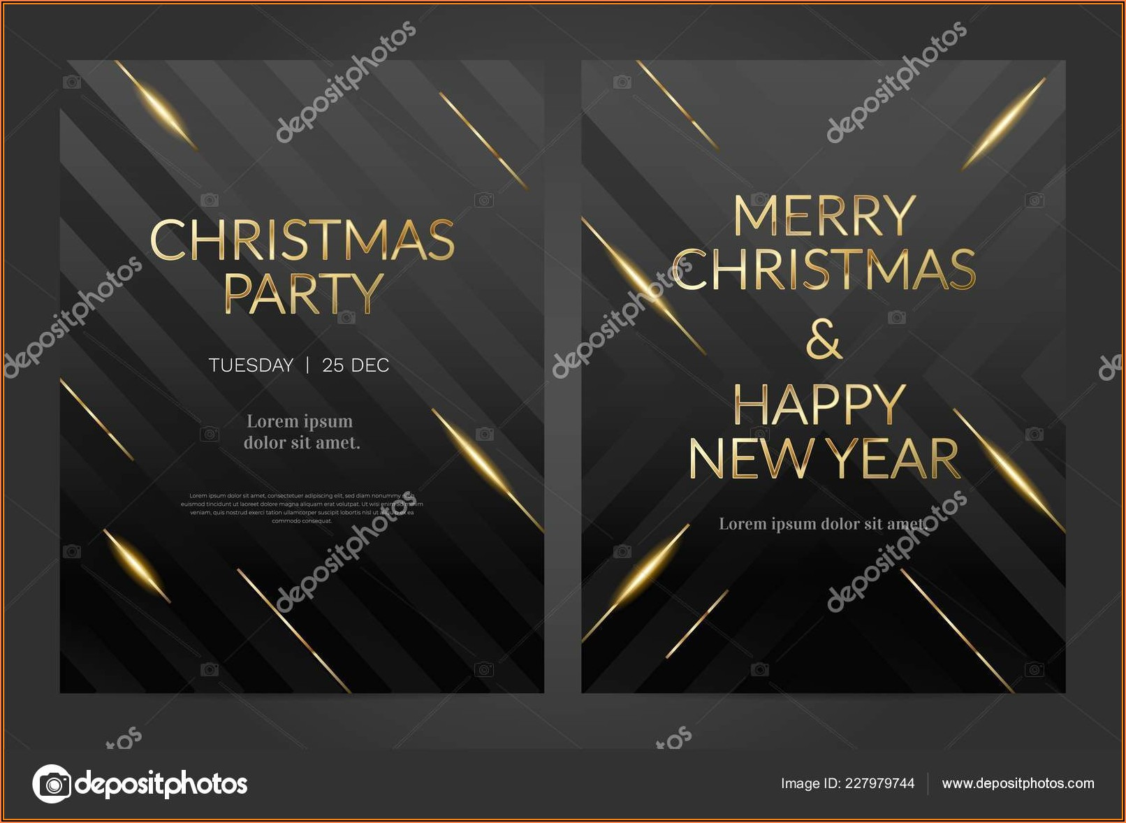 Gold And Black Background Invitation Template