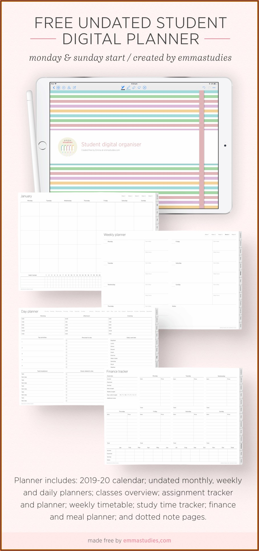 Goodnotes Planner Template Free 2020