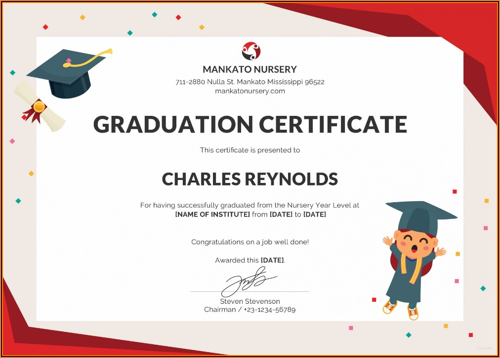 Graduation Certificate Template Free Download