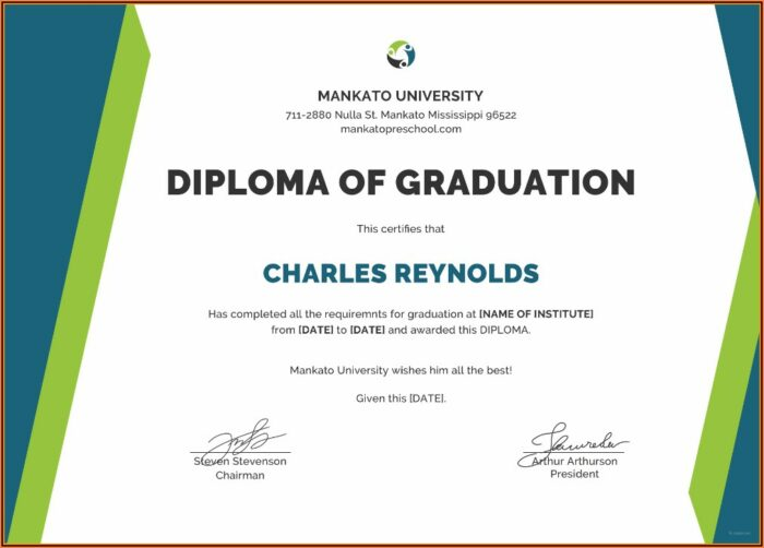 Graduation Diploma Template Word
