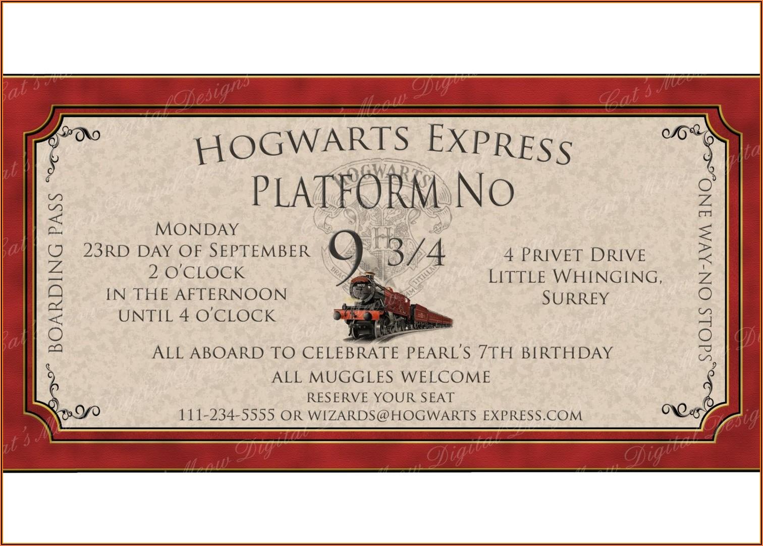 Harry Potter Birthday Party Invitation Template