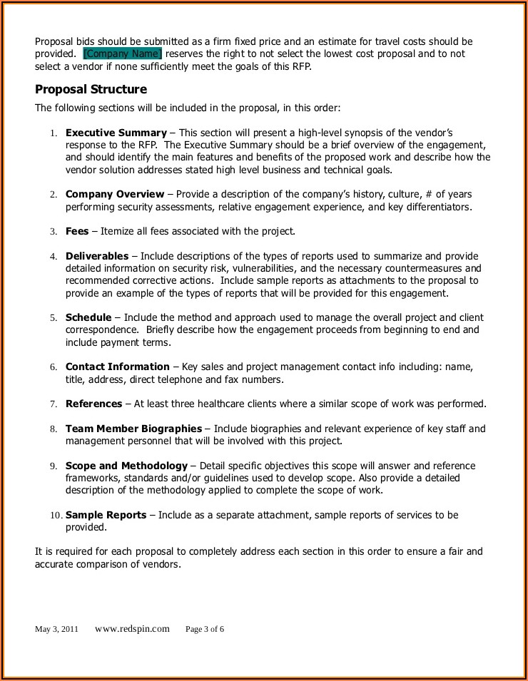 Healthcare Rfp Template